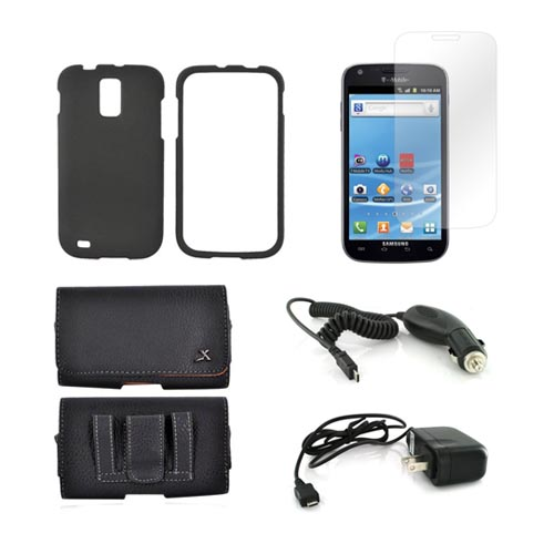 T-Mobile Samsung Galaxy S2 Essential Bundle Package w/ Black Rubberized Plastic Case, Screen Protector, Leather Pouch, Car & Travel Charger