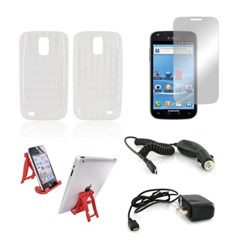 T-Mobile Samsung Galaxy S2 Essential Bundle Package w/ Clear Crystal Silicone Case, Mirror Screen Protector, Red 3Feet Stand, Car & Travel Charger