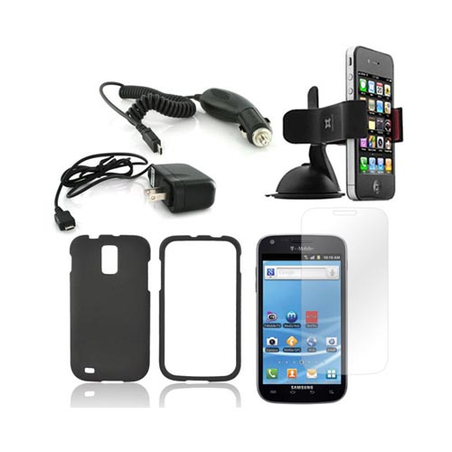 T-Mobile Samsung Galaxy S2 Essential Bundle Package w/ Black Rubberized Hard Case, Screen Protector, Car & Travel Charger, & Windshield Car Mount