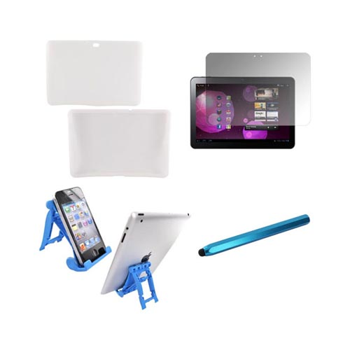 Samsung Galaxy Tab 10.1 Essential Bundle Package w/ Frost White Silicone Case, Screen Protector, Light Blue 3Feet Stand, & Turquoise Metal Pen Stylus