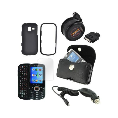 Samsung Intensity III Essential Bundle Package w/ Black Rubberized Hard Case, Screen Protector, Leather Pouch, Car & Travel Charger