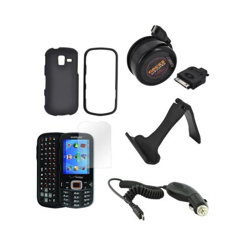Samsung Intensity III Essential Bundle Package w/ Black Rubberized Hard Case, Screen Protector, Portable Stand, Car & Travel Charger