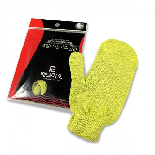 Skin Exfoliating Bath Scrub, 1 Pair of [Yellow/ Mitten] for Removing Dead Skin Cells - Size [Small]