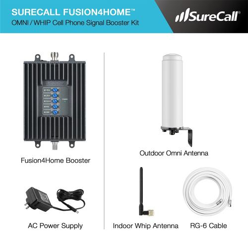 SureCall [Fusion4Home] Voice, Text & 4G LTE Cell Phone Signal Booster Omni / Whip Kit [Homes up to 2,000 sq ft]