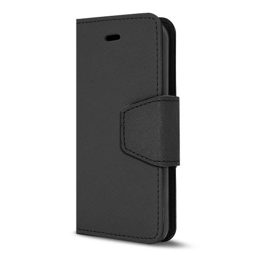 Black Faux Leather Diary Flip Stand Case w/ ID Slots, Wrist Strap, & Magnetic Closure for Apple iPhone 5C