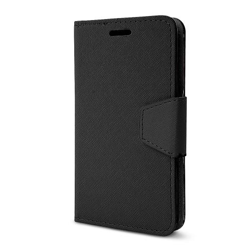 Black Faux Leather Diary Flip Stand Case w/ ID Slots, Wrist Strap, & Magnetic Closure for LG G2 (Excluding Verizon)