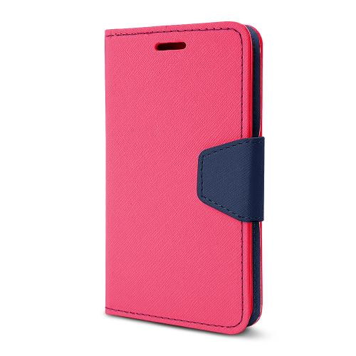 Hot Pink/ Navy Faux Leather Diary Flip Stand Case w/ ID Slots, Wrist Strap, & Magnetic Closure for LG G2 (Excluding Verizon)
