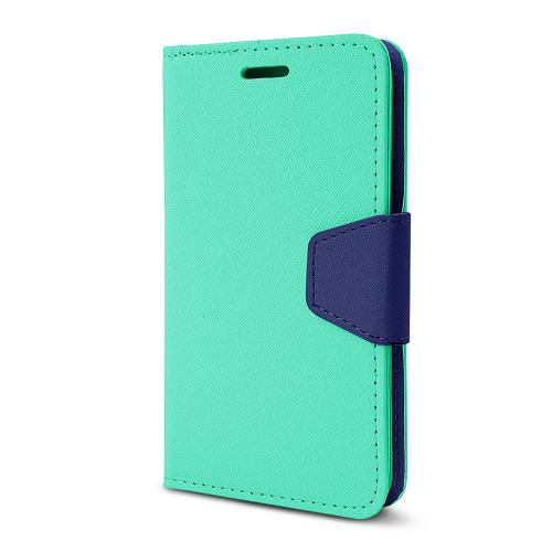 Mint/ Navy Faux Leather Diary Flip Stand Case w/ ID Slots, Wrist Strap, & Magnetic Closure for LG G2 (Excluding Verizon)