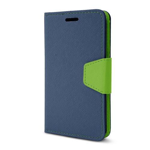 Navy/ Lime Green Faux Leather Diary Flip Stand Case w/ ID Slots, Wrist Strap, & Magnetic Closure for LG G2 (Excluding Verizon)