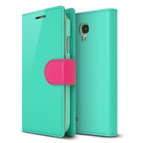 Bright Mint/ Hot Pink Faux Leather Diary Flip Case w/ ID Slots & Magnetic Closure for Samsung Galaxy S4