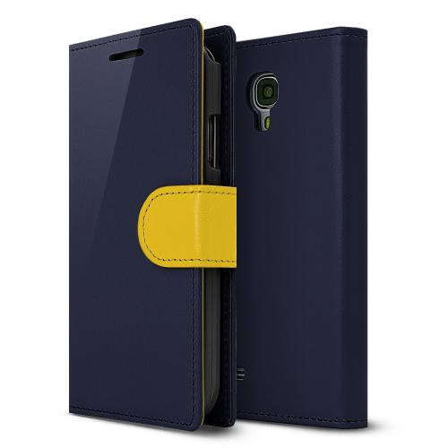 Navy/ Yellow Faux Leather Diary Flip Stand Case w/ ID Slots & Magnetic Closure for Samsung Galaxy S4