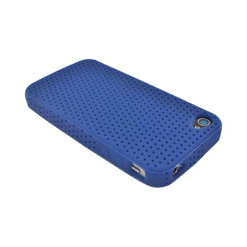 Apple iPhone 4 Silicone Case w/ Holes Texture - Navy Blue