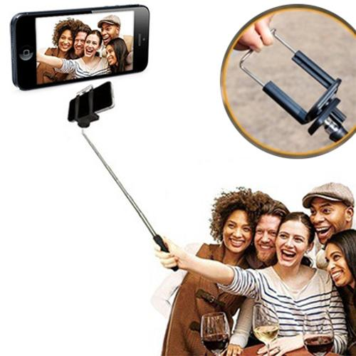 Extendable Selfie Stick Self-Portrait Monopod Stick for Tablet & Phone w/ Attachment Head Included - Take a Selfie using your Tablet! [Black]