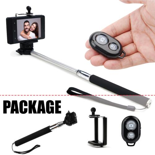 Manufacturers Selfie Essential Bundle w/ Self-Portrait Selfie Stick w/ Rotating Head and Black Bluetooth Shutter Hard Cases