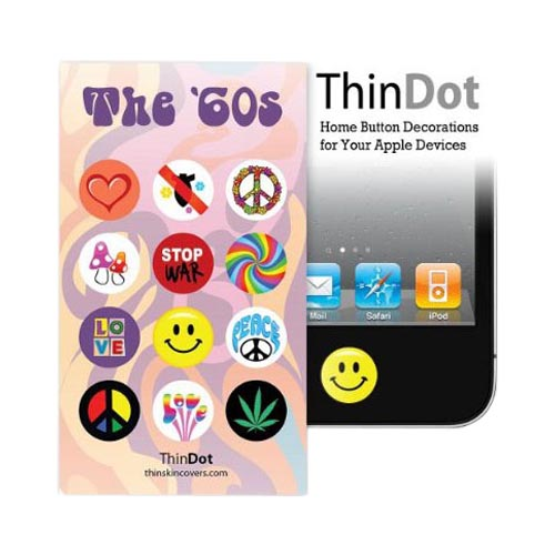 Original ThinDot Universal Apple iPhone/ iPod/ iPad Home Button Stickers - 60s Theme