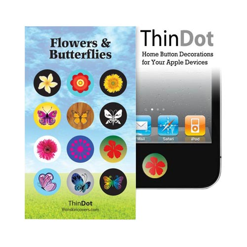 Original ThinDot Universal Apple iPhone/ iPod/ iPad Home Button Stickers - Butterflies and Flowers