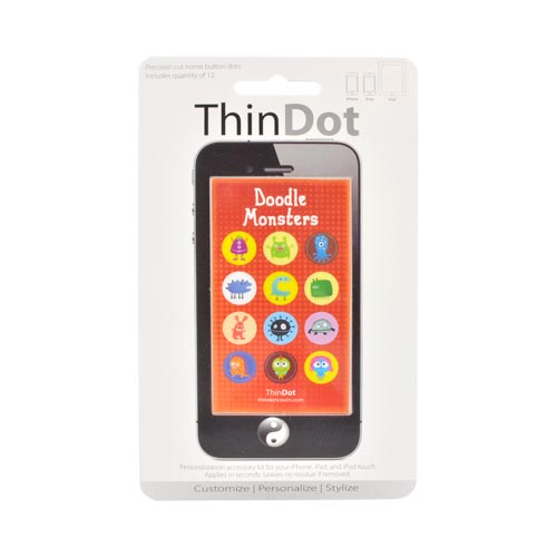 Original ThinDot Universal Apple iPhone/ iPod/ iPad Home Button Stickers - Doodle Monsters