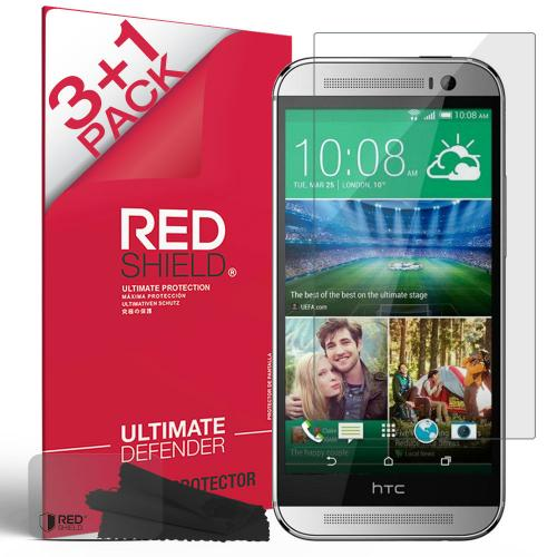 [3+1 Pack] HTC One M8 Screen Protector, REDshield [Clear] HD Ultra Thin Scratch Resistant, Bubble Free, Protective Screen Guard Film for HTC One M8