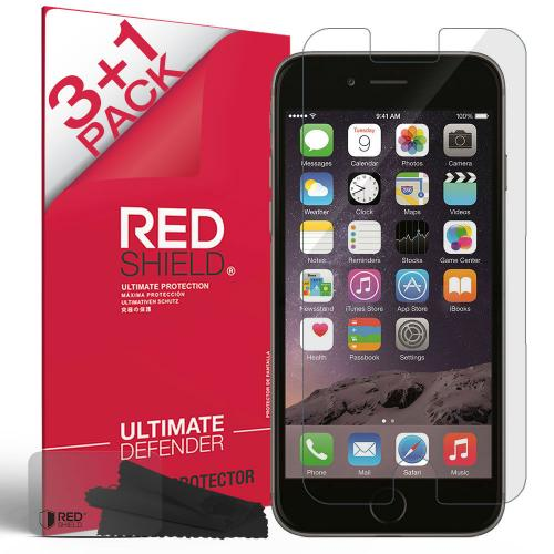 [3+1 Pack] Apple iPhone 6/ 6S Screen Protector, REDshield [Clear] HD Ultra Thin Scratch Resistant, Bubble Free, Protective Screen Guard Film for Apple iPhone 6