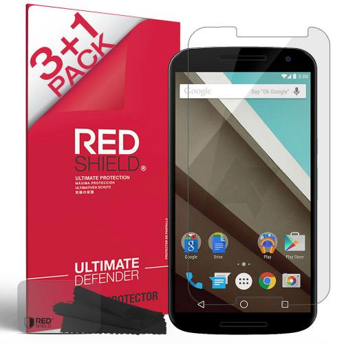 [3+1 Pack] Motorola Google Nexus 6 Screen Protector, REDshield [Clear] HD Ultra Thin Scratch Resistant, Bubble Free, Protective Screen Guard Film for Motorola Google Nexus 6