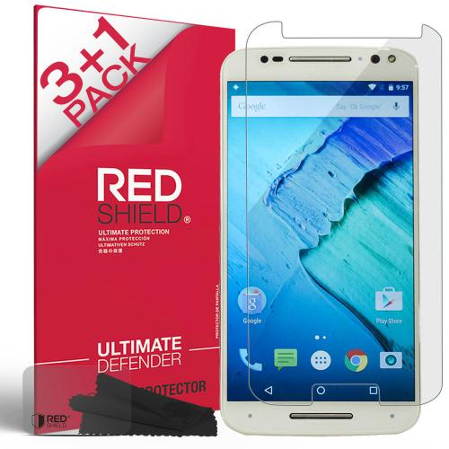 [REDShield] Motorola Moto X Pure Edition Screen Protectors 3 Pack + 1 Free, Crystal Clear HD Screen protector; Anti-Scratch, Easy to apply