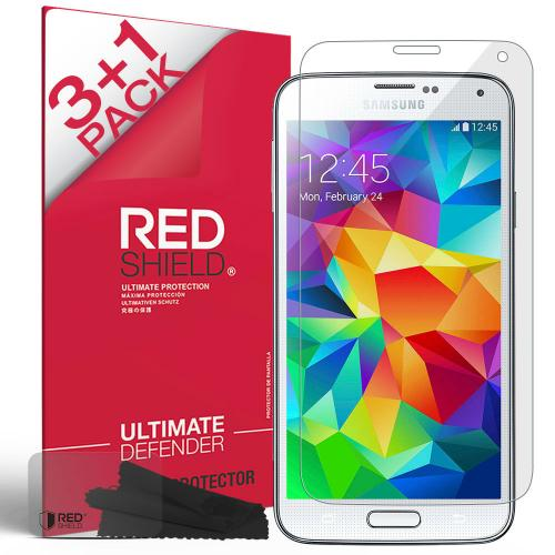 [REDShield] Samsung Galaxy S5 Screen Protectors 3 Pack + 1 Free  Crystal Clear HD Screen protector. Anti-Scratch  Easy to apply