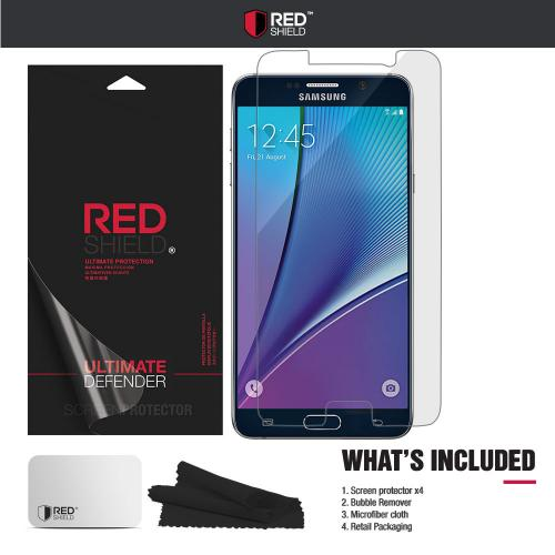 [3+1 Pack] Samsung Galaxy Note 5 Screen Protector, REDshield [Clear] HD Ultra Thin Scratch Resistant, Bubble Free, Protective Screen Guard Film for Samsung Galaxy Note 5