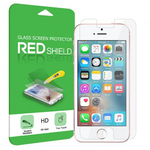 Apple iPhone SE Screen Protector, REDShield [Tempered Glass] Ultimate Impact-Resistant Protective Screen Protector