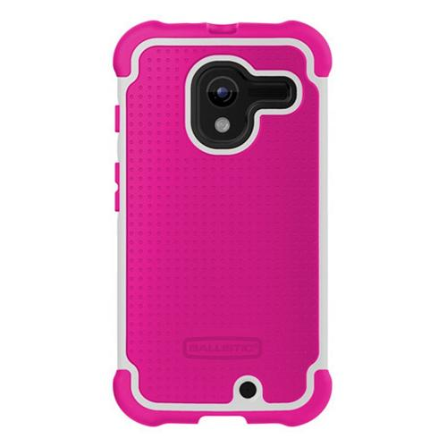 Ballistic Hot Pink/ White Shell Gel Series Back Cover Over Silicone Case for Motorola Moto X - SG1188-A055