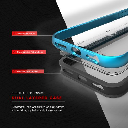 Apple iPhone 7 (4.7 inch) Case, SHOCK Series Aluminum Metal Bumper [Crystal Clear] Hybrid Case w/ Reinforced Edges [Blue]