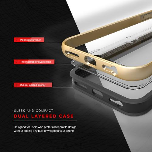 Apple iPhone 7 (4.7 inch) Case, SHOCK Series Aluminum Metal Bumper [Crystal Clear] Hybrid Case w/ Reinforced Edges [Gold] - (ID: SHK-IPH7-GD)