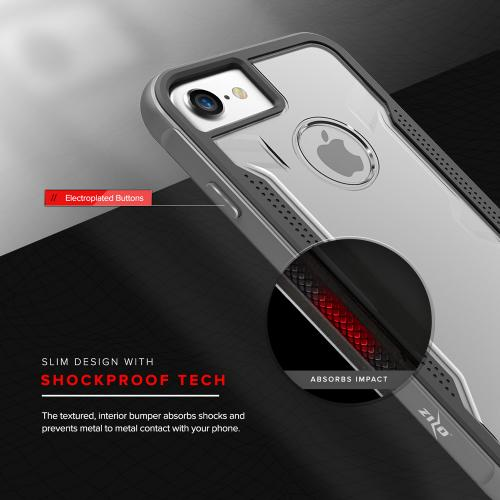 [Apple iPhone 7] (4.7 inch) Case, SHOCK Series Aluminum Metal Bumper [Crystal Clear] Hybrid Case w/ Reinforced Edges [Gray]