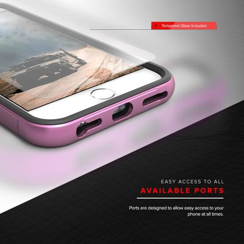 Apple iPhone 7 (4.7 inch) Case, SHOCK Series Aluminum Metal Bumper [Crystal Clear] Hybrid Case w/ Reinforced Edges [Pink] - (ID: SHK-IPH7-PK)