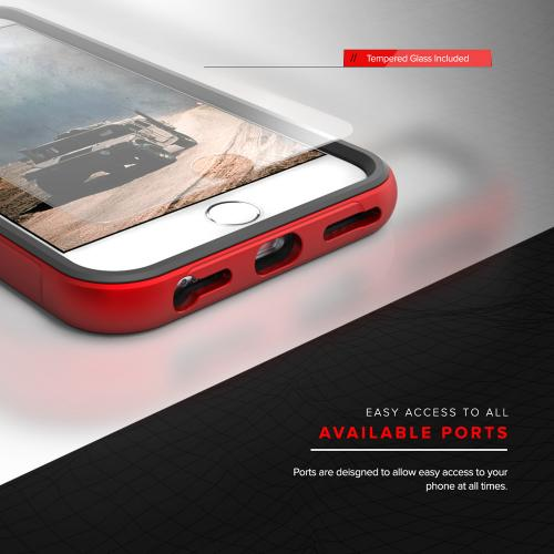 Apple iPhone 7 (4.7 inch) Case, SHOCK Series Aluminum Metal Bumper [Crystal Clear] Hybrid Case w/ Reinforced Edges [Red] - (ID: SHK-IPH7-RD)