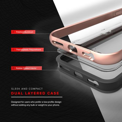 [Apple iPhone 7] (4.7 inch) Case, SHOCK Series Aluminum Metal Bumper [Crystal Clear] Hybrid Case w/ Reinforced Edges [Rose Gold]