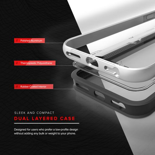 Apple iPhone 7 (4.7 inch) Case, SHOCK Series Aluminum Metal Bumper [Crystal Clear] Hybrid Case w/ Reinforced Edges [Silver] - (ID: SHK-IPH7-SL)