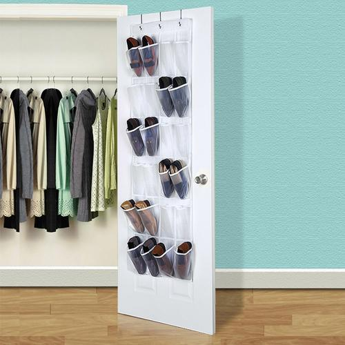 Over the Door Shoe Organizer [White/Clear]