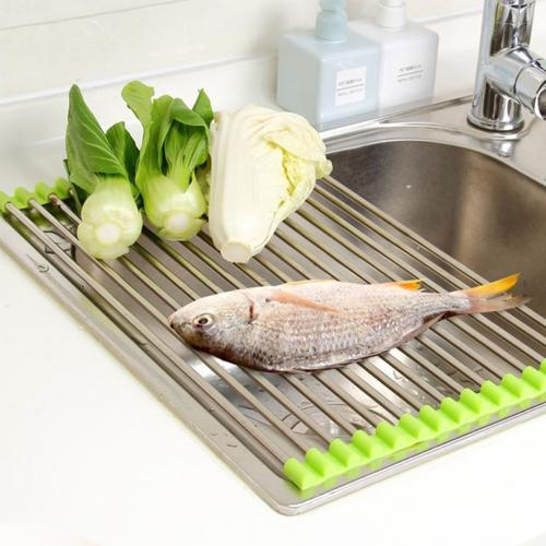 Large Folding Stainless Steel Colander Drying Tray for Fruits, Vegetables, Meat
