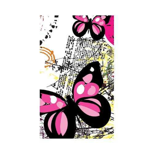Dell Venue Pro Protective Skin - Pink/ Black Butterflies on White