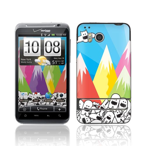 Original GelaSkins HTC Thunderbolt Protective Skin - Monsters w/ Colorful Mountain View