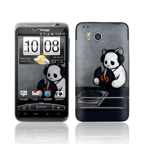Original GelaSkins HTC Thunderbolt Protective Skin - The Soundtrack (To My Life) Gray w/ White Bear