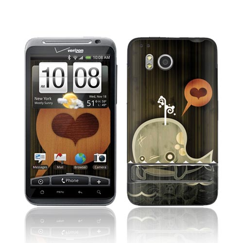 Original GelaSkins HTC Thunderbolt Protective Skin - Enamored Whale on Brown