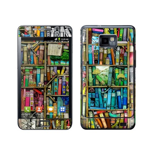 Original GelaSkins Samsung Galaxy S2 Protective Skin - Colorful Bookshelf (INTERNATIONAL VERSION)