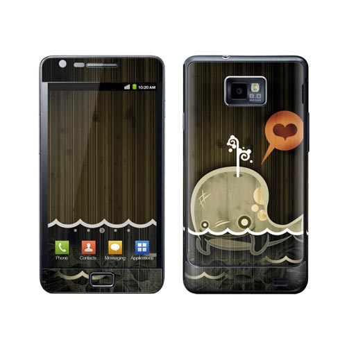 Original GelaSkins Samsung Galaxy S2 Protective Skin - Enamored Whale on Brown (INTERNATIONAL VERSION ONLY)