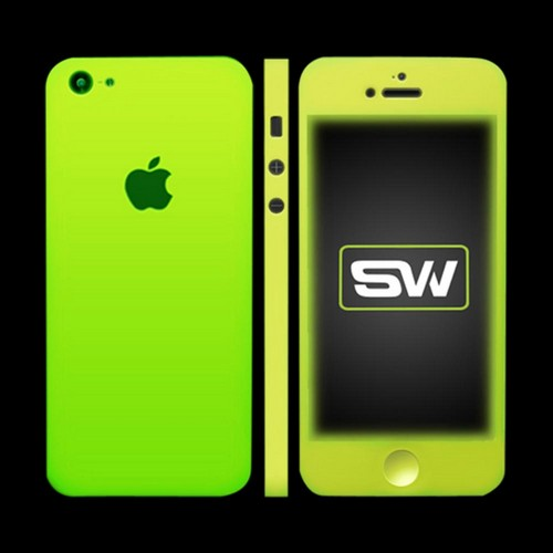 Apple iPhone SE/5/5S/5C, SlickWraps [Glow in the Dark Yellow] Protective Skin & Screen Protector