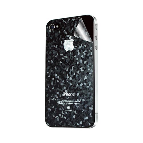 Original Hornettek AT&T/ Verizon Apple iPhone 4, iPhone 4S Scratch-Resistant Protective Skin w/ Screen Protector - Black/ Gray Diamond Texture