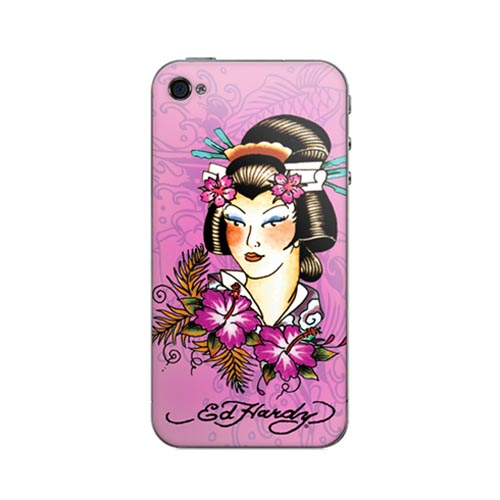 Original Music Skins Apple AT&T/ Verizon iPhone 4, iPhone 4S Protective Skin - Ed Hardy Geisha on Pink