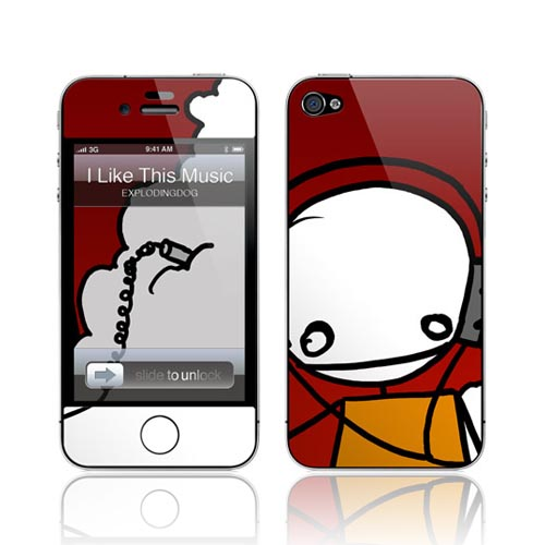 Original GelaSkins AT&T/ Verizon Apple iPhone 4 Protective Skin - I Like This Music Stick Figure on Red