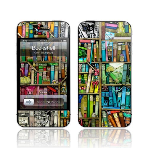 Original GelaSkins AT&T/ Verizon Apple iPhone 4 Protective Skin - Colorful Bookshelf
