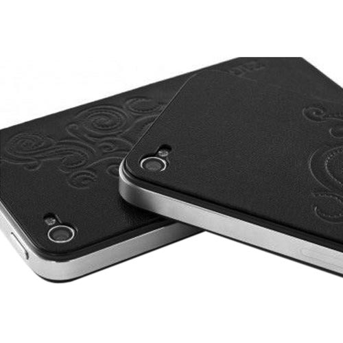 Original ZAGG Apple iPhone 4S, AT&T/ Verizon Apple iPhone 4 Protective Leather Skin - Black Swirls